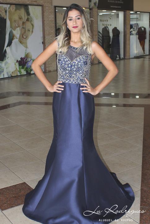Vestido Madrinha De Casamento Azul Com Pedrarias 00 Lu