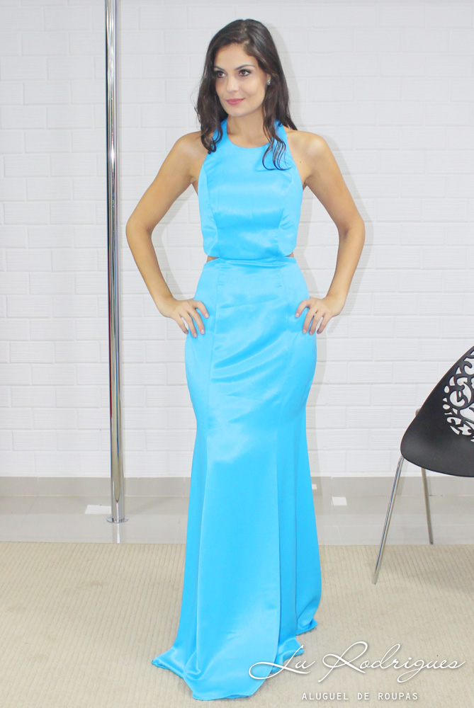 Vestido de madrinha azul tiffany aluguel