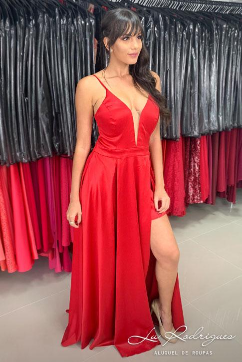 527 1 Vestido Festa Madrinha Vermelho Com Fenda Lu Rodrigues